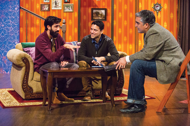 "(From left) Sathya Sridharan, AB '09, and Sanjit De Silva, AB '98, talk with Arsalan Iftikhar on the set of ""An Ordinary Muslim."" (Jennifer Weisbord, BFA '92)"