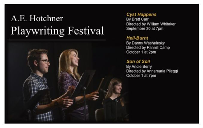 Join the Performing Arts Department in the A.E. Hotchner Theatre as actors participate in script-in-hand presentations of this year's winning plays.  All performances are free.