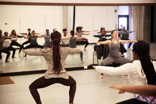 Assistant Professor of Dance, Joanna Dee Das leads a master class for local High School students